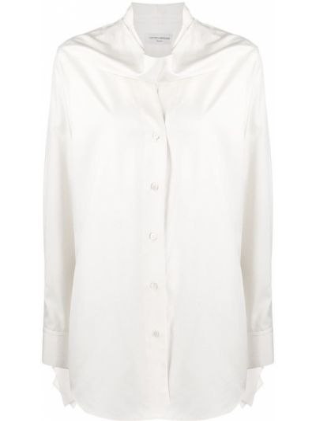 Шелковая рубашка на пуговицах оверсайз с драпировкой Victoria Beckham