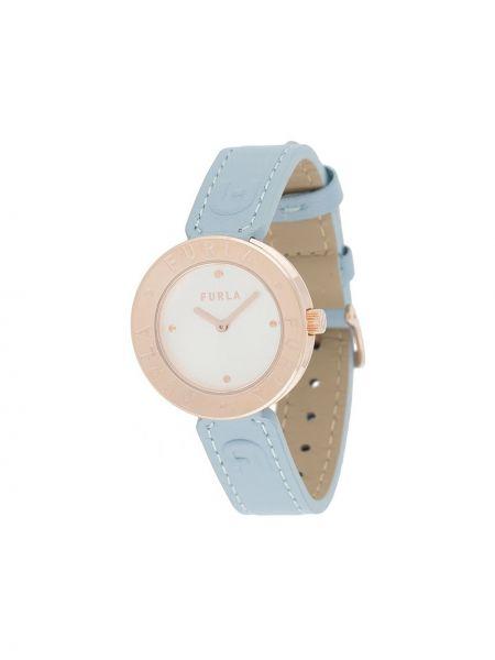 Z paskiem zegarek na skórzanym pasku okrągły złoto z prawdziwej skóry Furla