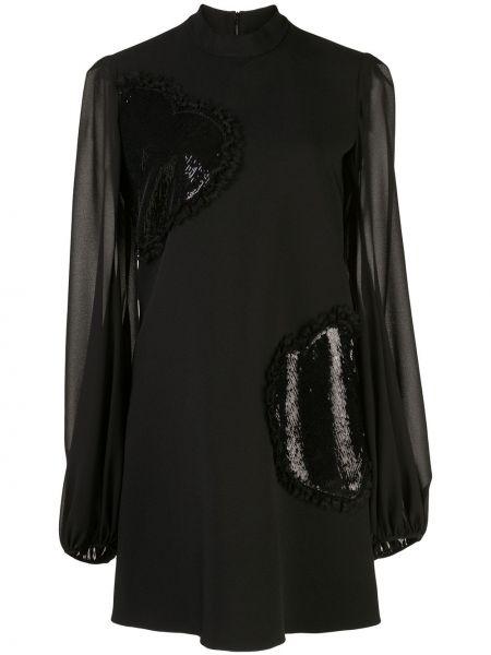 Czarna sukienka długa z haftem Giamba