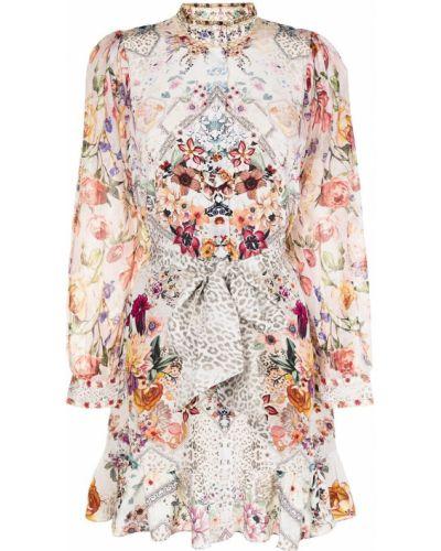 Шелковое платье миди - белое Camilla