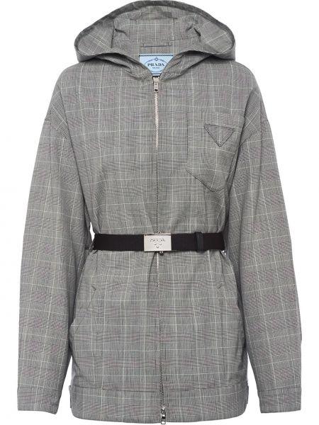 Шерстяная серая куртка с капюшоном на молнии с поясом Prada