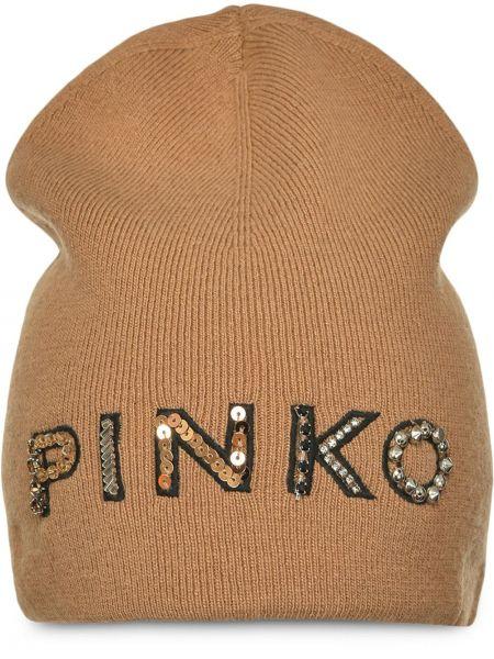Prążkowana brązowa czapka wełniana Pinko