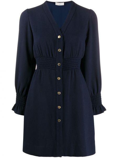 Прямое с рукавами синее платье мини Sandro Paris