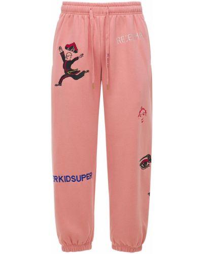 Różowe joggery z haftem bawełniane Kidsuper Studios