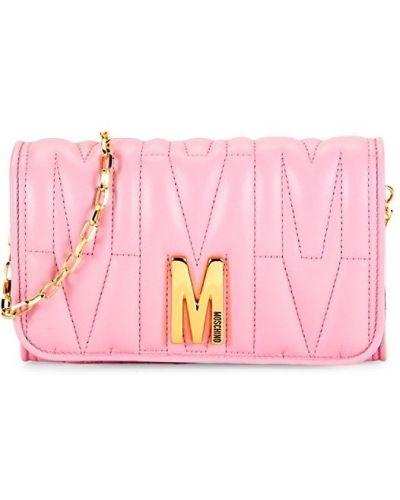 Кожаный кошелек - розовый Moschino