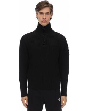 Prążkowany czarny sweter wełniany Gr Uniforma X Diesel Red Tag