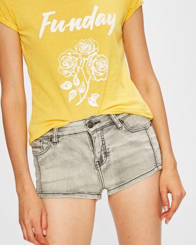 Серые джинсовые шорты с карманами со стразами Fresh Made