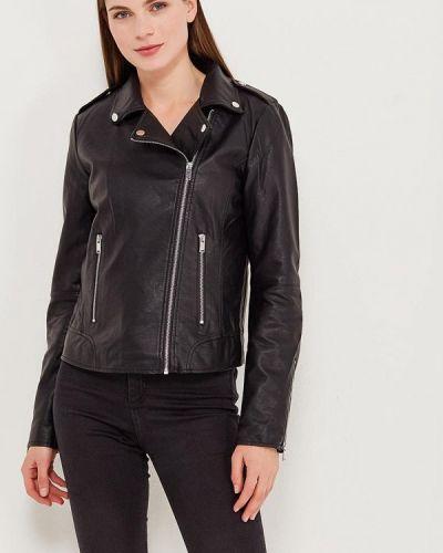 Кожаная куртка черная осенняя Vila