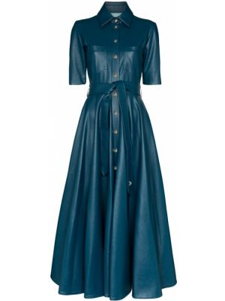 Синее расклешенное платье мини с карманами с короткими рукавами Anouki
