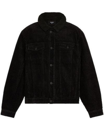 Puchaty czarny kurtka jeansowa z mankietami z kieszeniami Rolla's