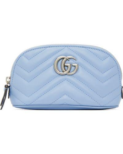 Srebro włókienniczy pikowana mini torebka z łatami Gucci