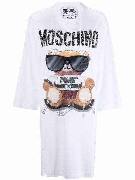 Белое платье с медведем Moschino