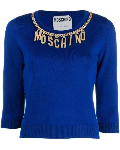 Niebieski łańcuszek wełniany z długimi rękawami Moschino