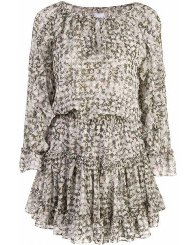 Платье с поясом серое с цветочным принтом Misa Los Angeles