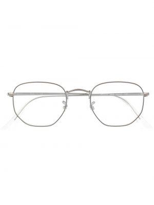 Серебряные солнцезащитные очки круглые прозрачные Ray-ban