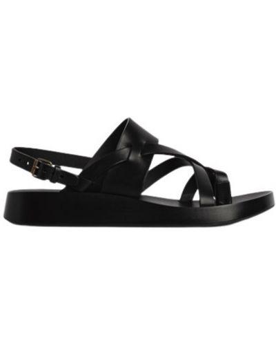Czarne sandały na niskim obcasie casual Saint Laurent