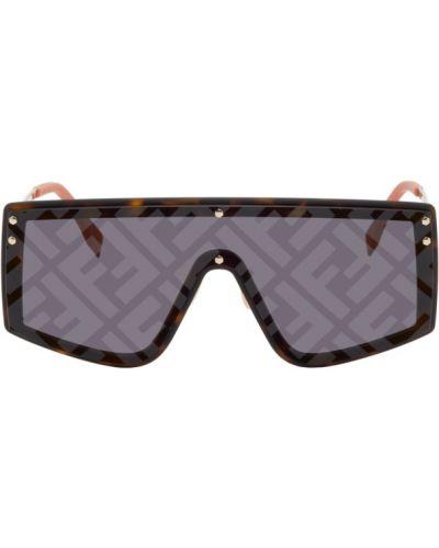 Кожаные оранжевые солнцезащитные очки прозрачные Fendi