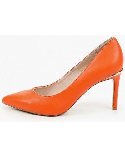 Оранжевые кожаные туфли-лодочки Berkonty