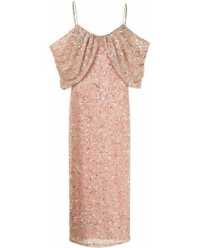Różowa sukienka z nylonu Badgley Mischka