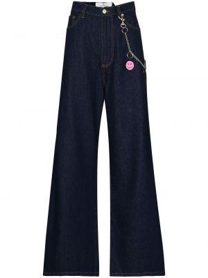 Широкие джинсы с завышенной талией - синие Natasha Zinko