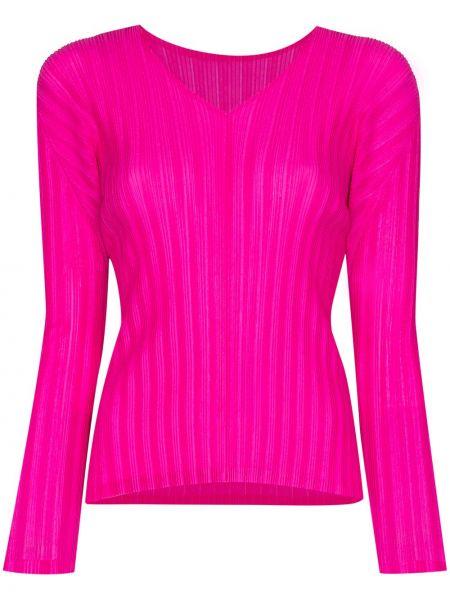 Różowa koszula z długimi rękawami z dekoltem w serek Pleats Please Issey Miyake