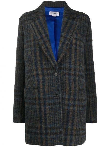 Коричневое шерстяное длинное пальто в клетку Victoria, Victoria Beckham