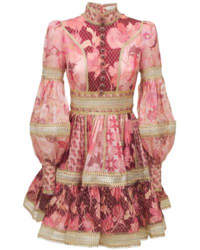 Льняное платье мини - розовое Zimmermann