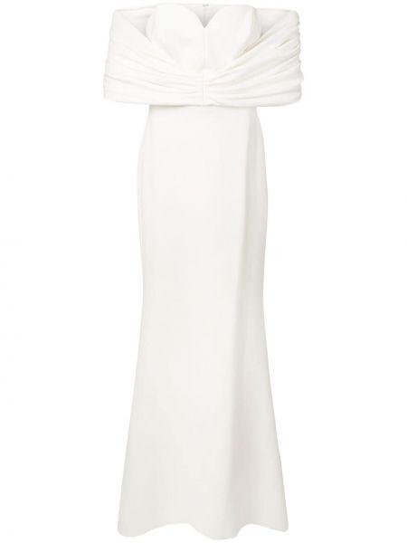 Белое платье мини с вырезом с открытыми плечами с короткими рукавами Christian Siriano