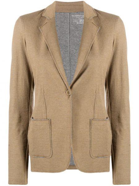 Однобортный коричневый удлиненный пиджак с карманами Majestic Filatures