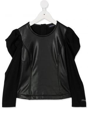 Кожаный с рукавами черный топ Monnalisa