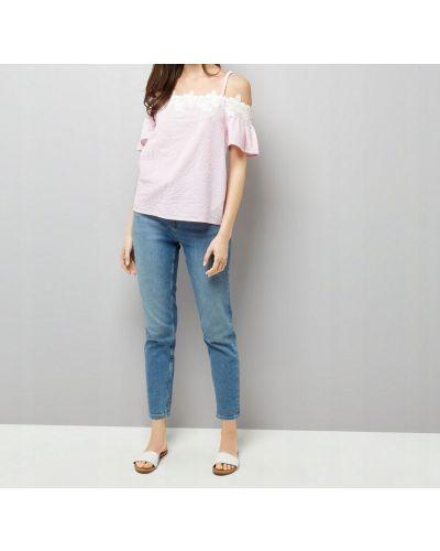 Różowy z rękawami bluzka z haftem New Look
