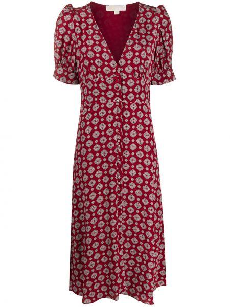 Шелковое красное платье миди с V-образным вырезом Michael Michael Kors