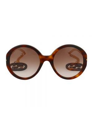 Złote okulary - brązowe Gucci