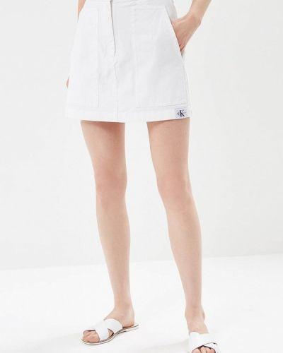 Белая джинсовая юбка Calvin Klein Jeans