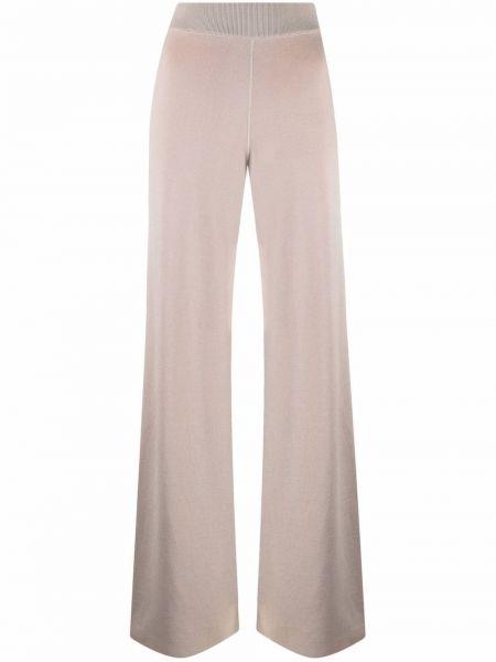 Prążkowane beżowe spodnie z jedwabiu Maison Ullens