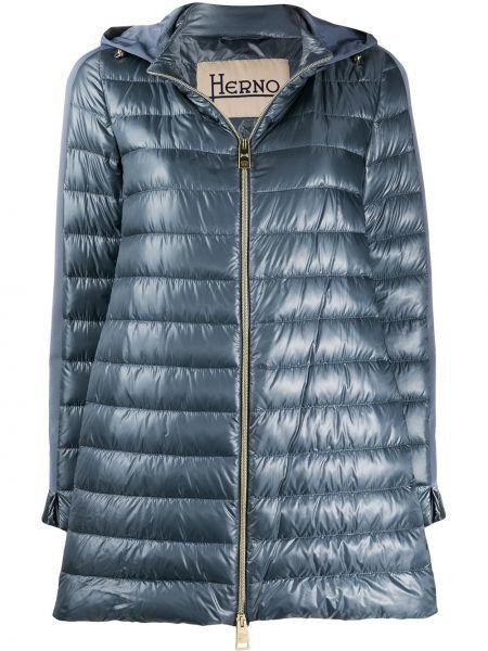Куртка с капюшоном стеганая длинная Herno