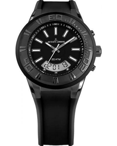 Водонепроницаемые часы черные с подсветкой Jacques Lemans