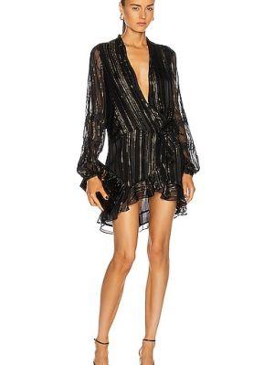 Кружевное черное платье мини с декольте Rococo Sand