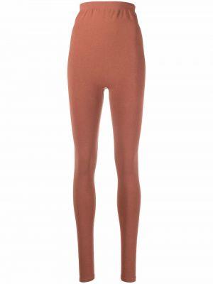 Brązowe legginsy z wysokim stanem bawełniane Baserange