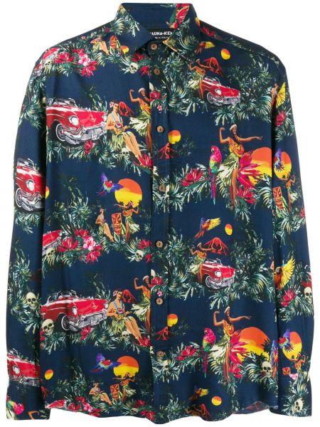 Синяя классическая рубашка с воротником на пуговицах Mauna Kea