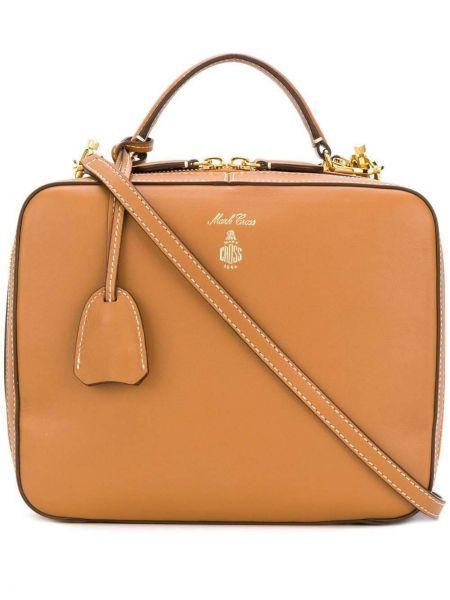 Кожаная коричневая кожаная сумка Mark Cross