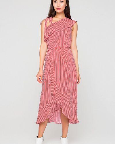 Платье миди весеннее красный A-dress