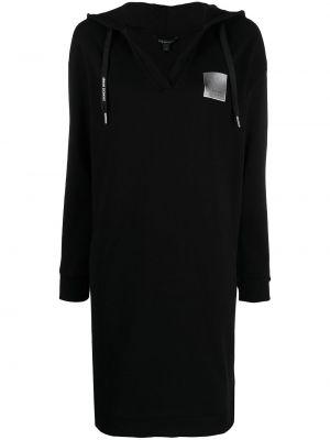 Хлопковое черное платье макси с капюшоном Armani Exchange