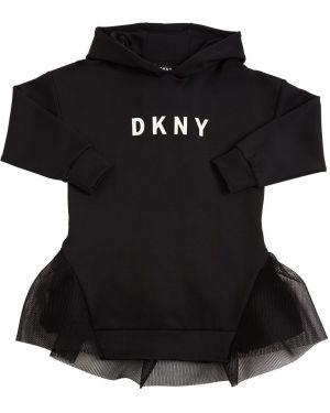 Платье с сеткой с капюшоном с манжетами из неопрена Dkny