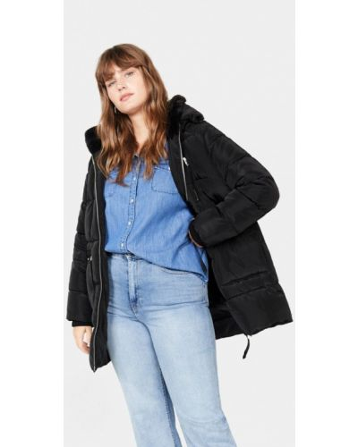 Зимняя куртка утепленная черная Violeta By Mango