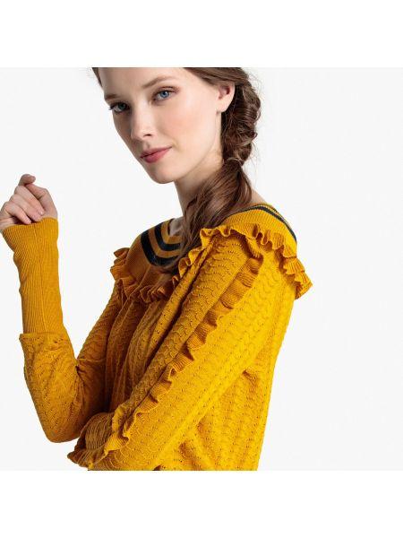 Ажурный пуловер с воланами длинный Mademoiselle R