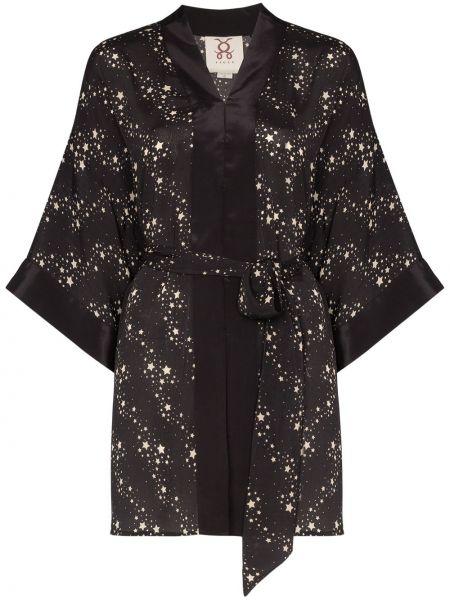 Czarna długa kurtka z wiskozy z dekoltem w serek Figue
