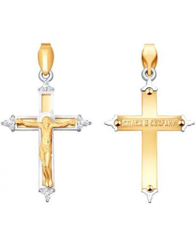 Золотистый белый крест с декоративной отделкой Sokolov