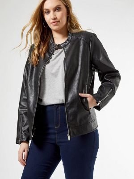 Кожаная куртка - черная Dorothy Perkins Curve