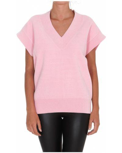Różowa bluzka krótki rękaw Essentiel Antwerp